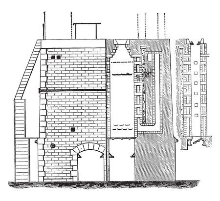 furnace: Furnace Appoll, vintage engraved illustration. Industrial encyclopedia E.-O. Lami - 1875.