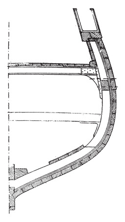 nautical structure: Section of a ship built in cross planks, vintage engraved illustration. Industrial encyclopedia E.-O. Lami - 1875.