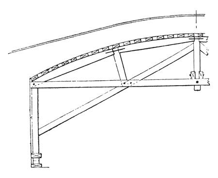 混合: 混合ハンガー アーチ ボルト、ビンテージの刻まれた図。産業百科事典 e. o.ラミ - 1875年。