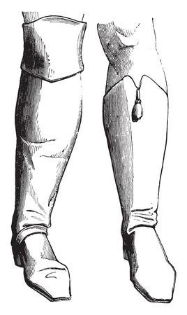 hussar: Bodyguard boot (1786), a hussar boot-Chamboran (1795), vintage engraved illustration. Industrial encyclopedia E.-O. Lami - 1875.