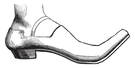Shoes a varlet, fifteenth century, vintage engraved illustration. Industrial encyclopedia E.-O. Lami - 1875.