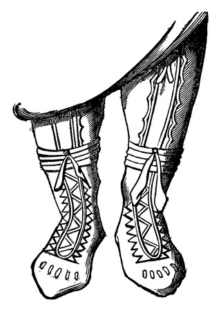 adorned: Adorned boots, vintage engraved illustration. Industrial encyclopedia E.-O. Lami - 1875.