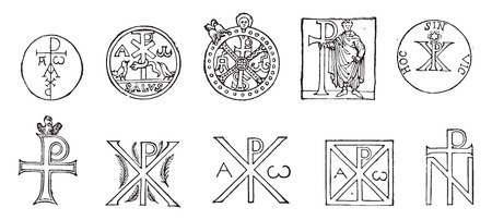 catacomb: Monograms of Christ, whose origin goes back (except for the first two) in the first centuries of the Church, vintage engraved illustration. Industrial encyclopedia E.-O. Lami - 1875. Illustration