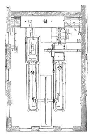 Map Sars-Lonchamp compressor, vintage engraved illustration. Industrial encyclopedia E.-O. Lami - 1875.  イラスト・ベクター素材