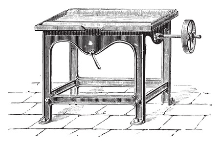 industrial machine: Straightening machine and pat chocolate bars, vintage engraved illustration. Industrial encyclopedia E.-O. Lami - 1875. Illustration