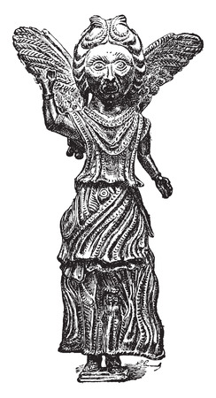 Bronze sixth century, vintage engraved illustration. Industrial encyclopedia E.-O. Lami - 1875.