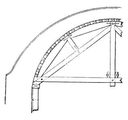 Hanger semicircular arch, vintage engraved illustration. Industrial encyclopedia E.-O. Lami - 1875. Ilustração