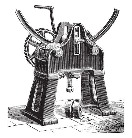 industrial machine: Machine for bending bars, vintage engraved illustration. Industrial encyclopedia E.-O. Lami - 1875. Illustration