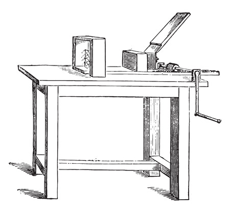 industrial machine: Cutting machine for adhesive blocks, vintage engraved illustration. Industrial encyclopedia E.-O. Lami - 1875.