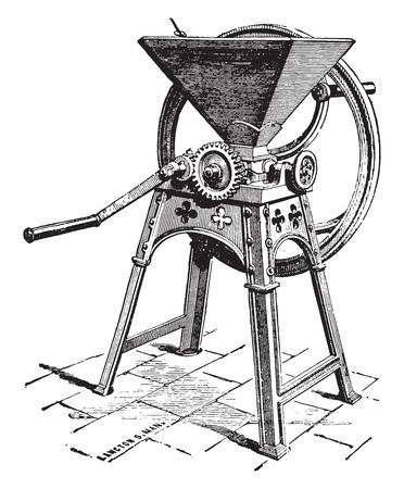 Crusher seeds, Picksley system, vintage engraved illustration. Industrial encyclopedia E.-O. Lami - 1875.