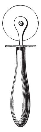 wooden circle: Knife for cutting dresses, vintage engraved illustration. Industrial encyclopedia E.-O. Lami - 1875. Illustration