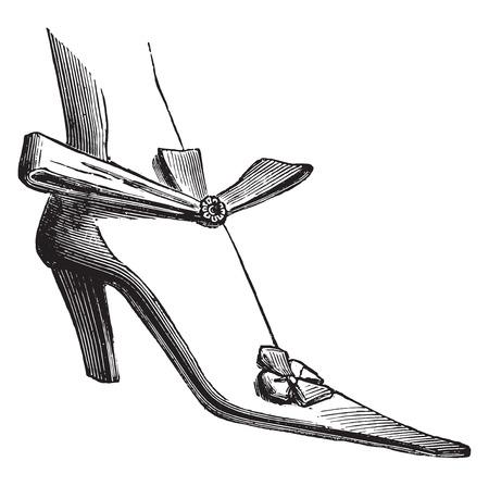 louis: Court shoes under Louis XIV (woman), vintage engraved illustration. Industrial encyclopedia E.-O. Lami - 1875.