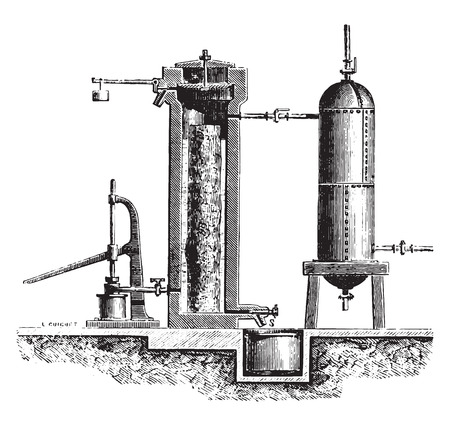 Cast iron cylinder is introduced or the piece of wood and the liquid, vintage engraved illustration. Industrial encyclopedia E.-O. Lami - 1875.