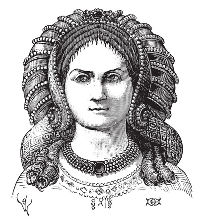 Parade hairstyle noble ladies face, vintage engraved illustration. Industrial encyclopedia E.-O. Lami - 1875.