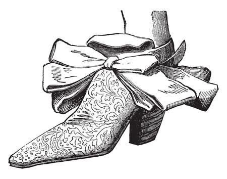 louis: Court shoes under Louis XIV (man), vintage engraved illustration. Industrial encyclopedia E.-O. Lami - 1875.