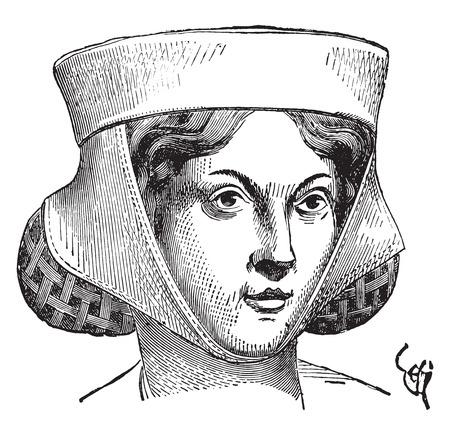 Woman hairstyle, vintage engraved illustration. Industrial encyclopedia E.-O. Lami - 1875.