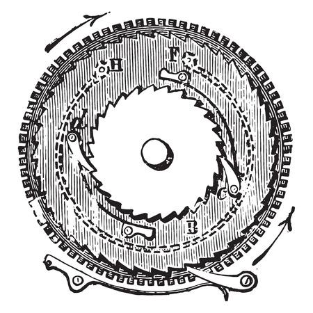 oscillation: Dentro de un cohete muelle auxiliar cron�metro, ilustraci�n de la vendimia grabado. E.-O. enciclopedia Industrial Lami - 1875.