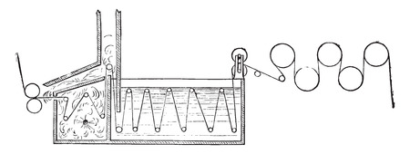 MAQUINA DE VAPOR: M�quina de vapor de cloro, ilustraci�n de la vendimia grabado. E.-O. enciclopedia Industrial Lami - 1875.