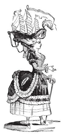 Hairstyle Belle Poule, vintage engraved illustration. Industrial encyclopedia E.-O. Lami - 1875.