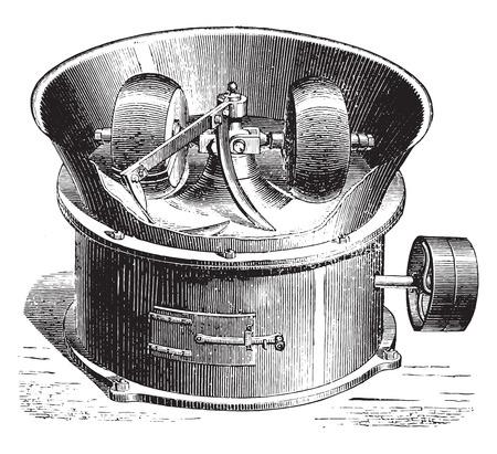 Loose gravel mixer, vintage engraved illustration. Industrial encyclopedia E.-O. Lami - 1875. Ilustração