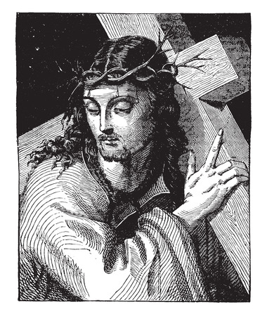 Christ, by Sebastiano del Piombo, vintage engraved illustration. Industrial encyclopedia E.-O. Lami - 1875.