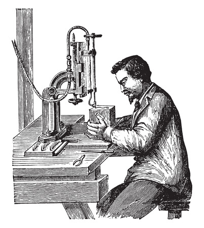 industrial machine: Burning machine, vintage engraved illustration. Industrial encyclopedia E.-O. Lami - 1875.