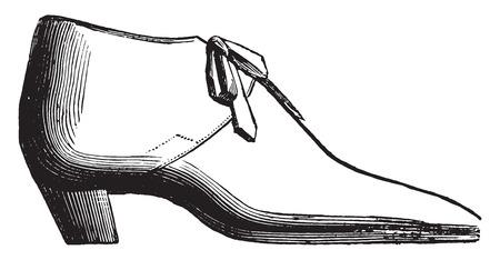 Neapolitan shoe, vintage engraved illustration. Industrial encyclopedia E.-O. Lami - 1875. Иллюстрация