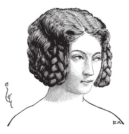 coif: An elegant hairstyle, vintage engraved illustration. Industrial encyclopedia E.-O. Lami - 1875.