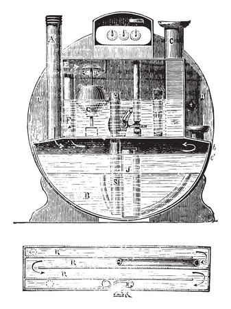 Meter constant water level, vintage engraved illustration. Industrial encyclopedia E.-O. Lami - 1875. Иллюстрация