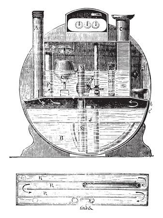 Meter constant water level, vintage engraved illustration. Industrial encyclopedia E.-O. Lami - 1875. Illustration