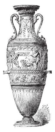 structure metal: Engraved bronze vase, vintage engraved illustration. Industrial encyclopedia E.-O. Lami - 1875.