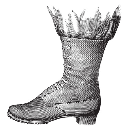 Ankle boot out first competition (1872) and not tried, vintage engraved illustration. Industrial encyclopedia E.-O. Lami - 1875.
