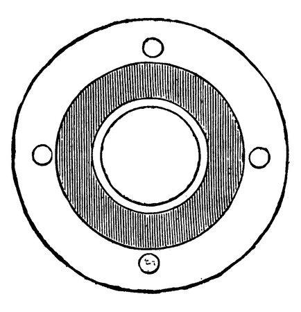 gasket: Seal by means of cardboard and hemp minium, vintage engraved illustration. Industrial encyclopedia E.-O. Lami - 1875.