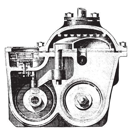 Meter Frager, Vertical section, vintage engraved illustration. Industrial encyclopedia E.-O. Lami - 1875.