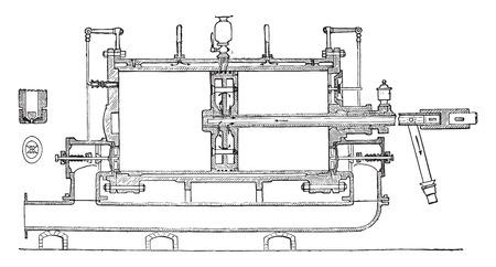 compresor: Sección longitudinal de Sautter y Lemonnier compresor, ilustración de la vendimia grabado. E.-O. enciclopedia Industrial Lami - 1875. Vectores