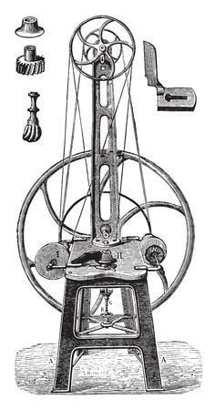 歪み矯正機、ポーランドし、仕上げ、ビンテージの刻まれた図。産業百科事典 e. o.ラミ - 1875。