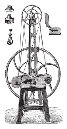 industrial machine: Straightening machine, polish and finish, vintage engraved illustration. Industrial encyclopedia E.-O. Lami - 1875.