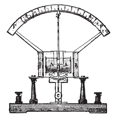 Electricity meter, vintage engraved illustration. Industrial encyclopedia E.-O. Lami - 1875. 向量圖像