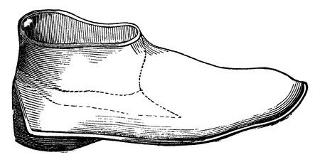 an engraving: Egyptian leather boot, vintage engraved illustration. Industrial encyclopedia E.-O. Lami - 1875. Illustration