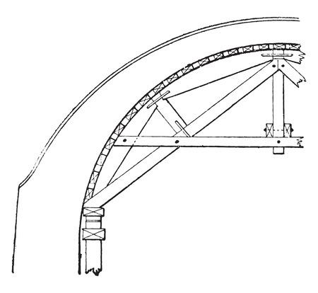Upturned hanger for semicircular arch, vintage engraved illustration. Industrial encyclopedia E.-O. Lami - 1875. Ilustração