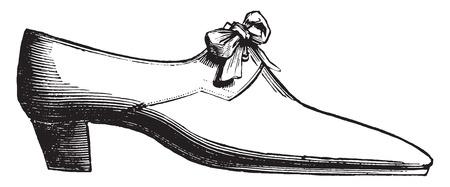 Moliere shoe, vintage engraved illustration. Industrial encyclopedia E.-O. Lami - 1875.