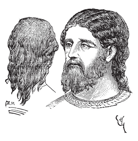 coif: Man of noble hairstyle, vintage engraved illustration. Industrial encyclopedia E.-O. Lami - 1875.