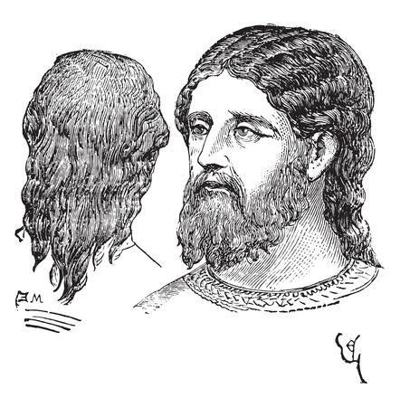 Man of noble hairstyle, vintage engraved illustration. Industrial encyclopedia E.-O. Lami - 1875.