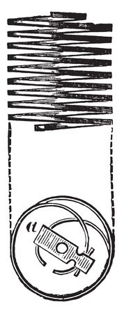 Spiraalveer of instelling timers, vintage gegraveerde illustratie. Industriële encyclopedie E.-O. Lami - 1875.