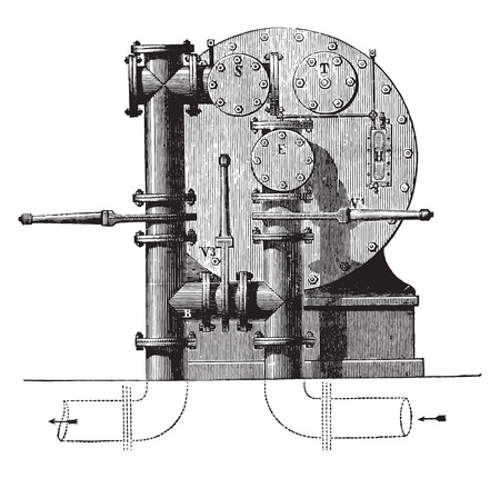 bypass: Meter factory seen from behind with three valves available for forming the bypass, vintage engraved illustration. Industrial encyclopedia E.-O. Lami - 1875.