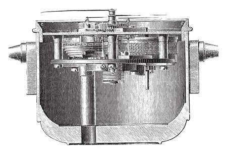 chronometer: Marine chronometer in his suspension box, vintage engraved illustration. Industrial encyclopedia E.-O. Lami - 1875. Illustration