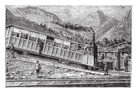 rack mount: Railway rack Rigi. Locomotive and freight car, vintage engraved illustration. Industrial encyclopedia E.-O. Lami - 1875.