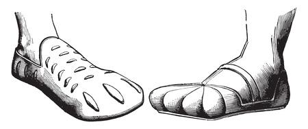 nobleman: Fig No. 117. Scarpa Francesco II, re di Francia, del XVI secolo, Fig No. 118. Boot un nobile tedesco, XVI secolo, vintage illustrazione inciso. Enciclopedia Industrial E.-O. Lami - 1875. Vettoriali