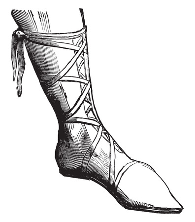 ninth: Shoe a nobleman in the ninth century, vintage engraved illustration. Industrial encyclopedia E.-O. Lami - 1875.