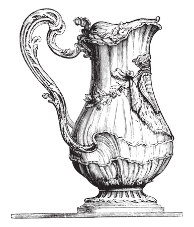 Water pot, vintage engraved illustration. Industrial encyclopedia E.-O. Lami - 1875. Illustration